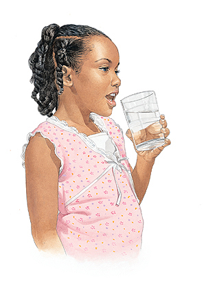 Girl drinking glass of water.