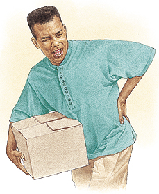 Man holding box, grimacing in pain with hand to his back.