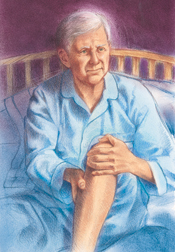 Man sitting up in bed, rubbing lower leg.